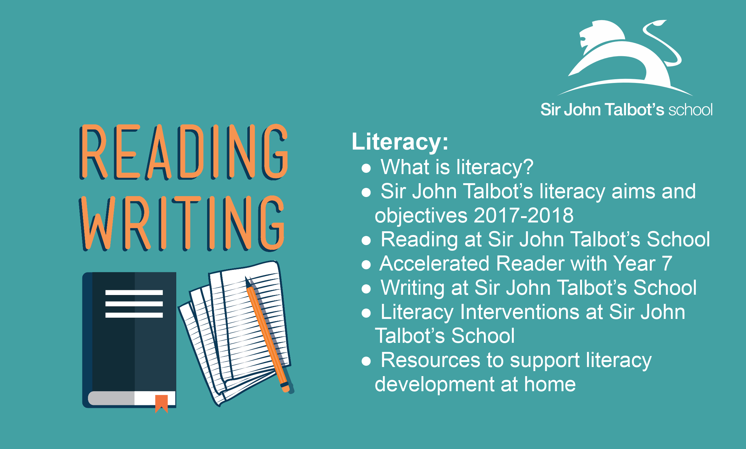 Please click here for more information on literacy at Sir John Talbot's School